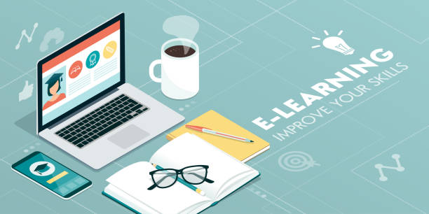 e-learning-plattform - hochschulgetränke stock-grafiken, -clipart, -cartoons und -symbole