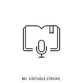 istock E-Learning Podcast Icon with Editable Stroke and Pixel Perfect. 1224443369