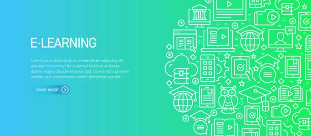 ilustrações de stock, clip art, desenhos animados e ícones de e-learning related banner template with line icons. modern vector illustration for advertisement, header, website. - fundo oficina