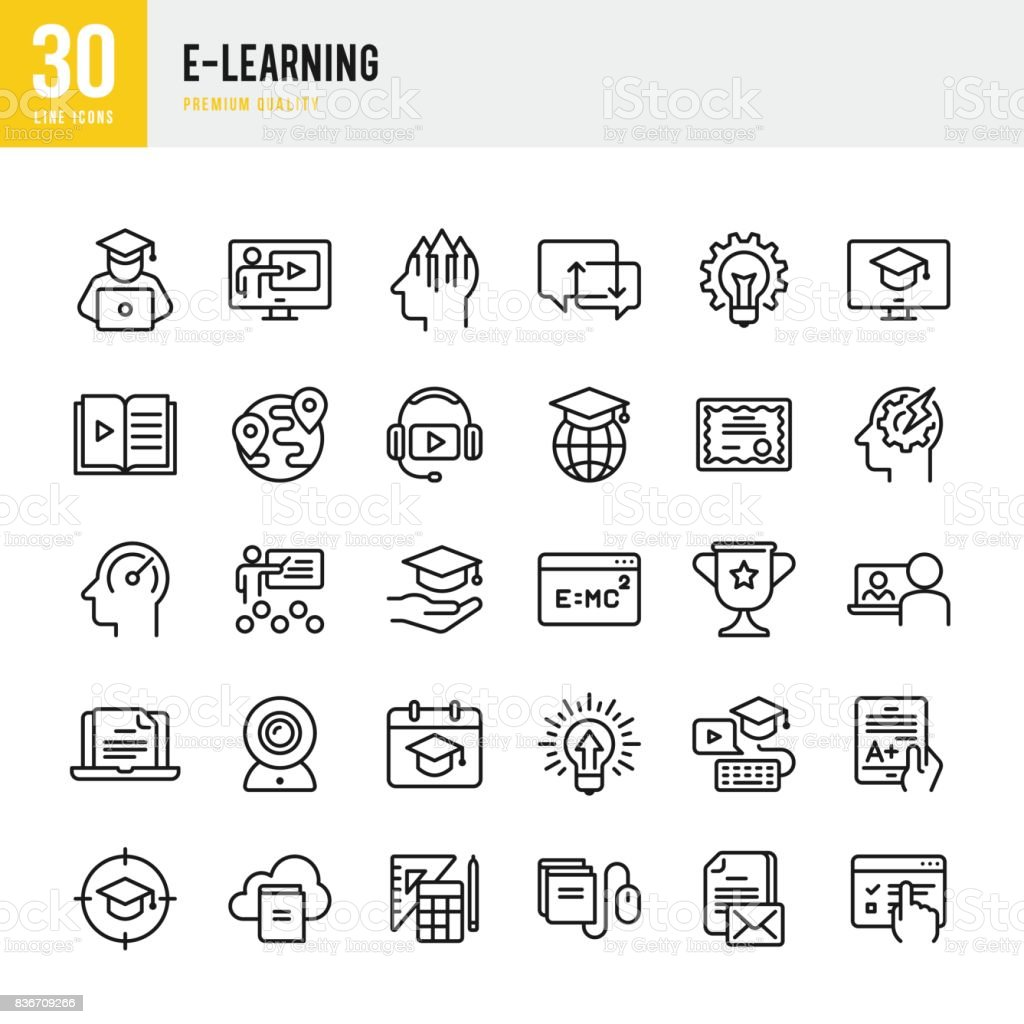 E-Learning - set of thin line vector icons