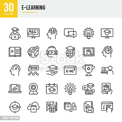 Set of E-Learning thin line vector icons.