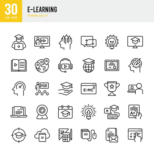 e-learning - set of thin line vector icons - university stock illustrations, clip art, cartoons, & icons