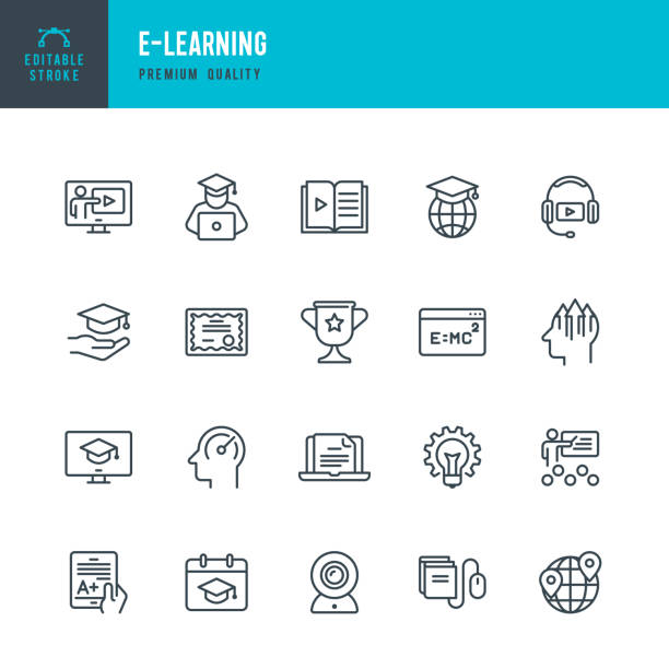 E-Learning - Vektor-Linie-Icons set – Vektorgrafik