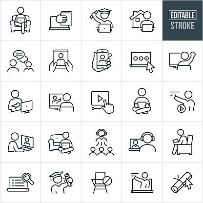 e-learning Thin Line Icons - Editable Stroke