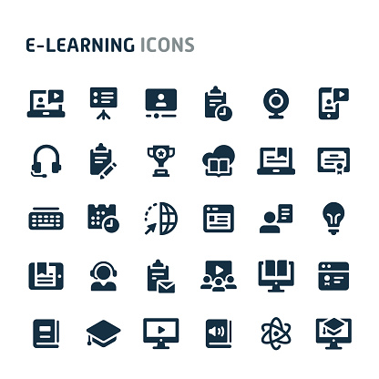 E-learning Vector Icon Set. Fillio Black Icon Series. clipart