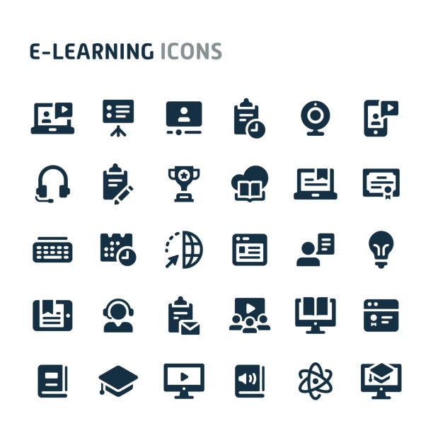 illustrazioni stock, clip art, cartoni animati e icone di tendenza di set di icone vettoriali di e-learning. fillio black icon series. - scuola