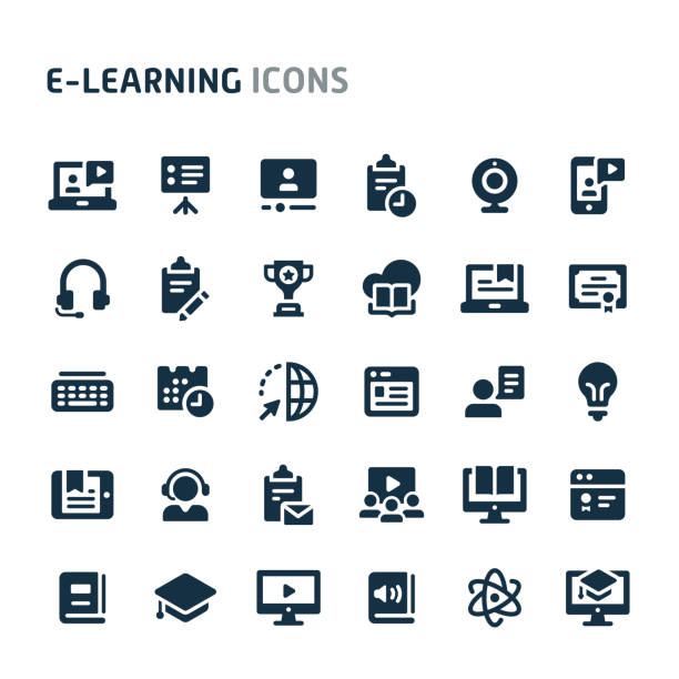 stockillustraties, clipart, cartoons en iconen met e-learning vector icon set. fillio zwarte icoon serie. - leren