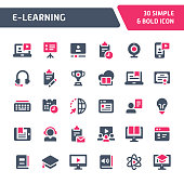30 Editable vector icons related to online learning & education. Symbols such as source programs, media equipment & online education are included. Still looks perfect in small size.