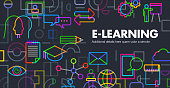 Abstract Geometric style E-Learning or on line education concept template banner