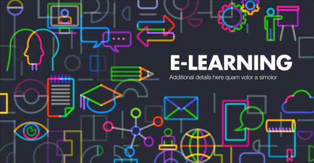 e-learning - webinar stock illustrations