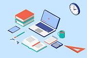 Isometric Laptop, Book, Smartphone, Pencil, Calculator, Notebook, Coffee Mug and Eye Glasses in Vector