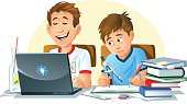 Two boys doing their homework. One works with a computer, the other one uses books, a drawing compas, a pencil, a ruler etc. Fully editable and all labeled in layers.