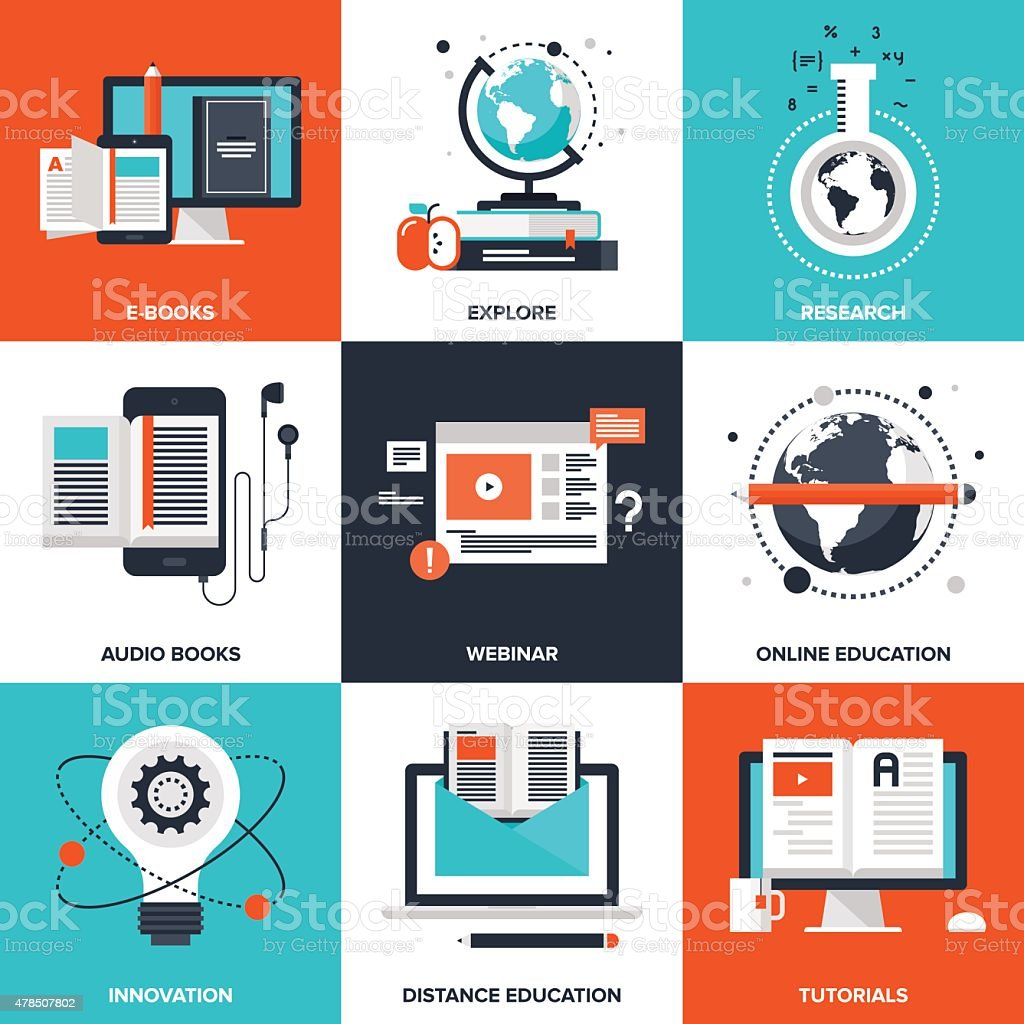 E-Learning vector art illustration