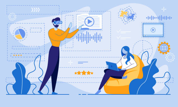 E-Learning via Internet or Virtual Reality Account E-Learning via Internet or Virtual Reality Account. Man in VR Glasses Entering Online Account for Data Management and Studying. Woman Using Laptop for Watching Video Tutorial. Vector Flat illustration vr stock illustrations