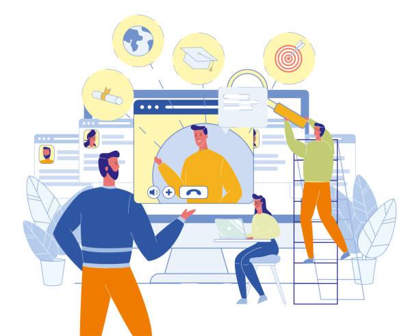 E-Learning virtuelle Internet Lektion. – Vektorgrafik