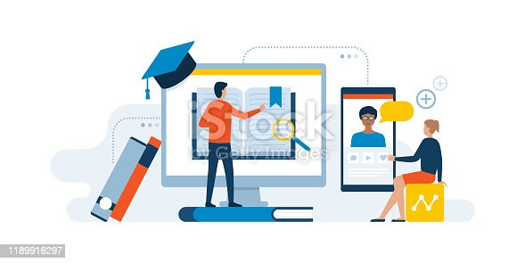Academic students learning online on computer and smartphone: e-learning and online courses concept