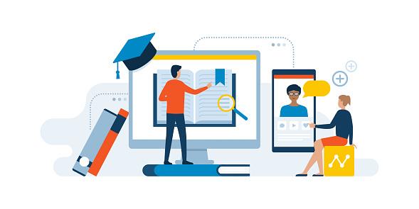 virtual education stock illustrations