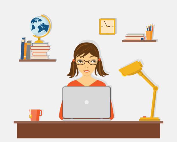 ilustrações de stock, clip art, desenhos animados e ícones de e-learning with girl at the laptop at the desk - girl study home laptop front