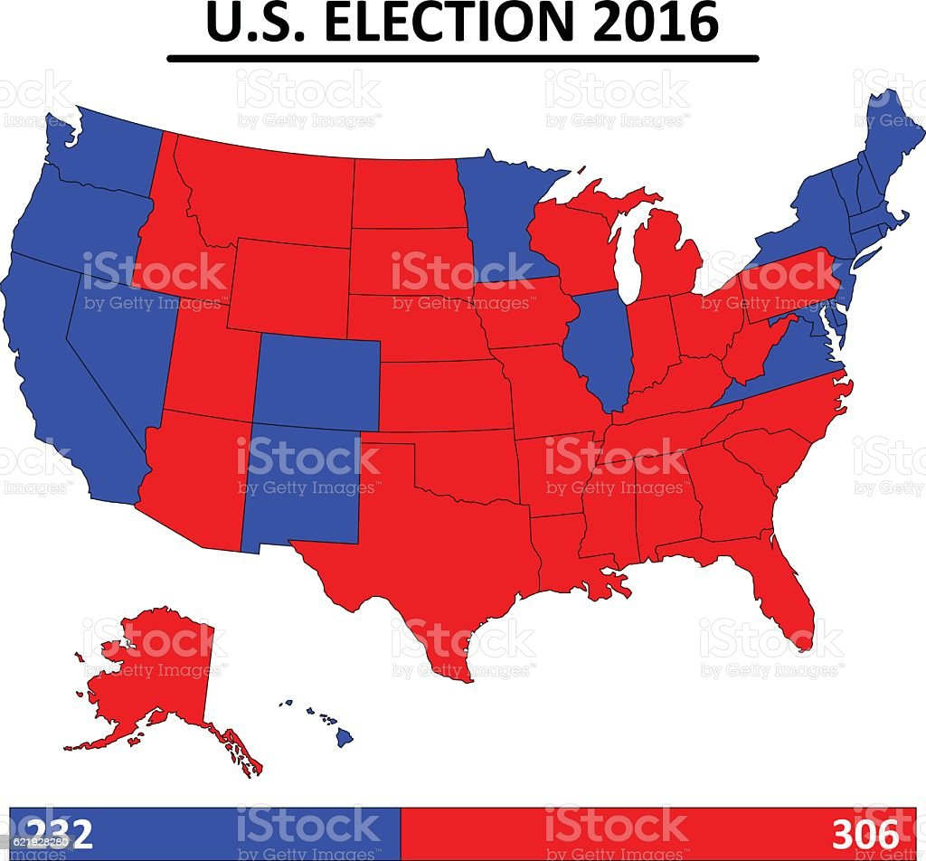 Map Of Usa Election Usa Election 2016 Map Vector Stock Illustration   Download Image