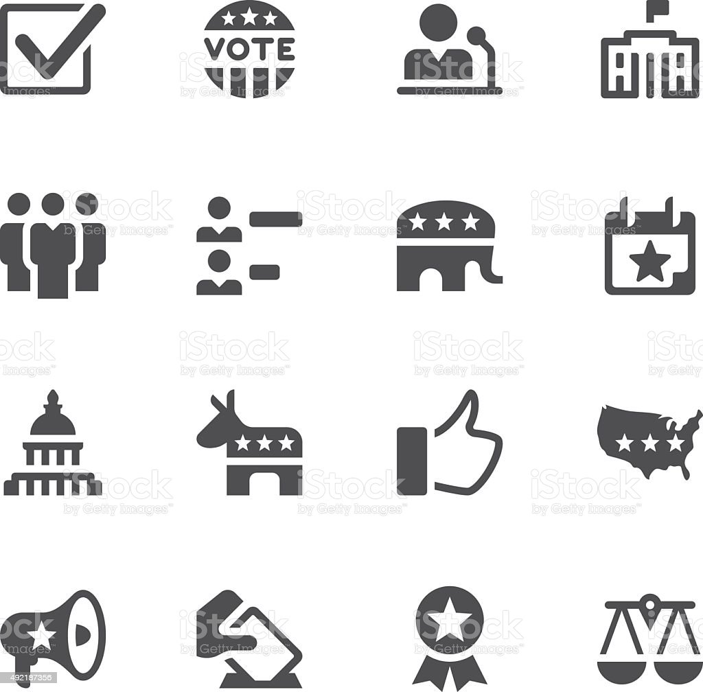 Election and Politics Icons vector art illustration
