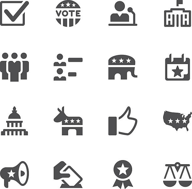 Election and Politics Icons Set of 16 Election and Politics vector icons. Easy resize. There are icons: Capitol Building, White House - Washington Dc, Democratic Party icon, Republican Party icon, Voting, Check Mark, Calendar, Weight Scale, Thumbs Up, USA map, Megaphone, Elephant, Donkey, Group of People. white house stock illustrations