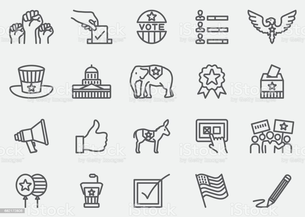 Election and Politics Line Icons | EPS 10 - illustrazione arte vettoriale