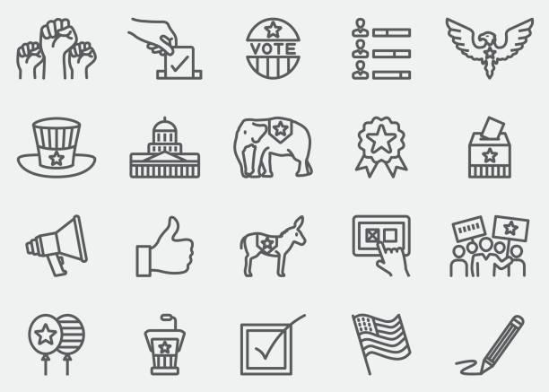 ilustraciones, imágenes clip art, dibujos animados e iconos de stock de elecciones y política línea de iconos | eps 10 - polling place