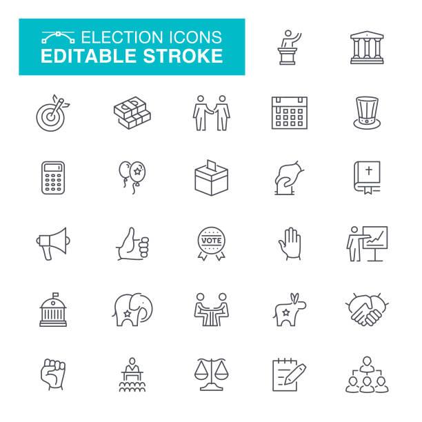 Election and Politics Line Icons White House - Washington DC, Protest, Capitol Building - Washington DC, Editable Stroke Icon Set government stock illustrations