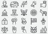 USA Election and Politics Line Icons