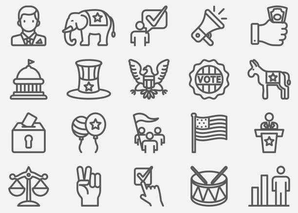 USA Election and Politics Line Icons USA Election and Politics Line Icons party conference stock illustrations