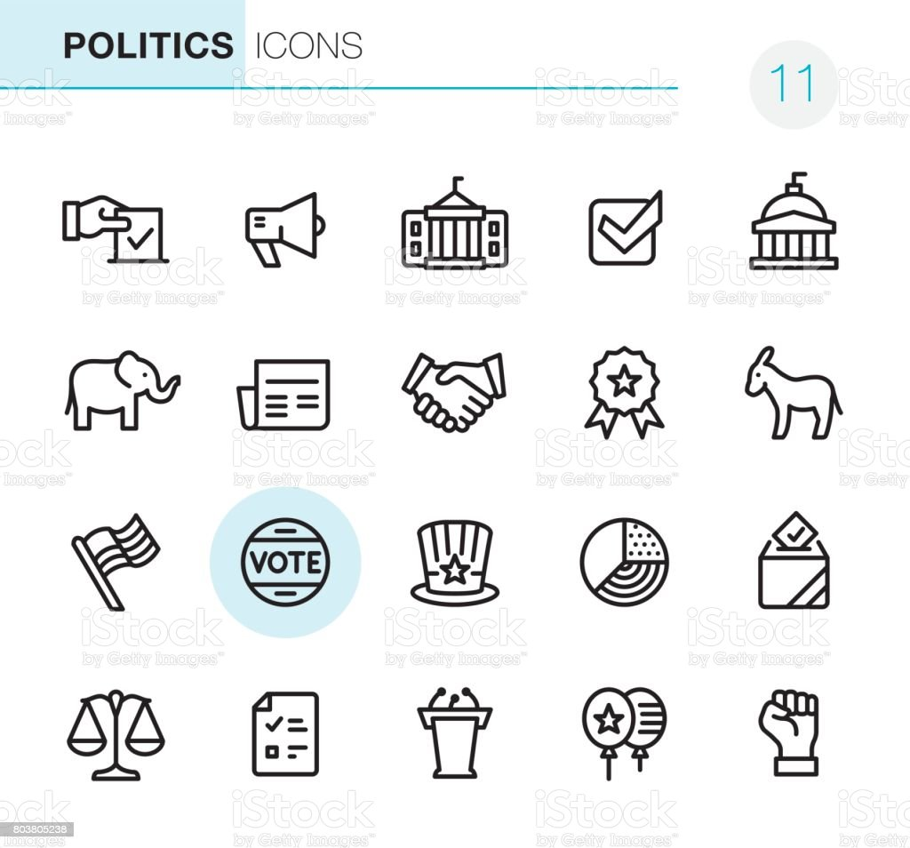 Election and Politics - Pixel Perfect icons vector art illustration