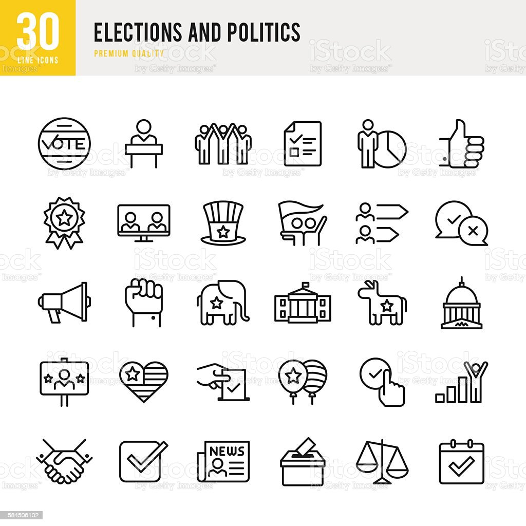 Election and Politics - Thin Line Icon Set vector art illustration