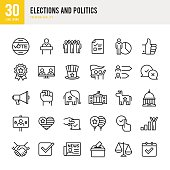 Election and Politics - Thin Line Icon Set
