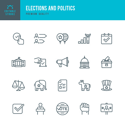 Election and Politics  - Thin Line Icon Set
