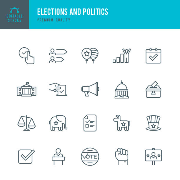 Election and Politics  - Thin Line Icon Set Set of Election and Politics thin line vector icons. white house stock illustrations