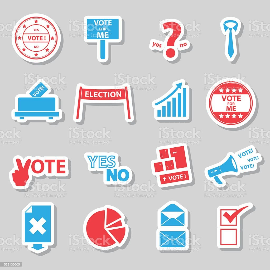 election and vote color simple stickers set eps10 vector art illustration