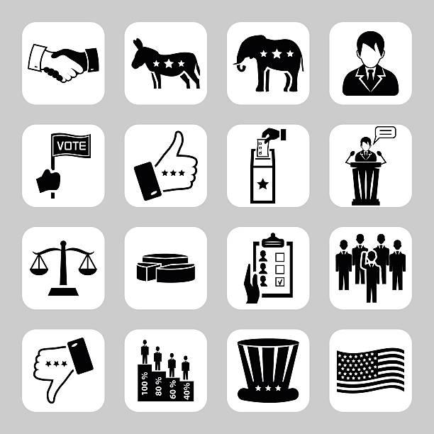 избрания и голосования вектор набок икон. векторные символы. векторная иллюстрация - presidential debate stock illustrations