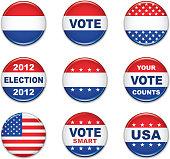 US election badge set, vector illustration