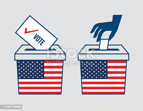 istock Election ballot box with a combination of American flag 1248740586