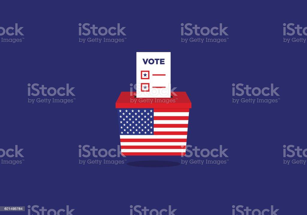 USA Election ballot vote box vector art illustration