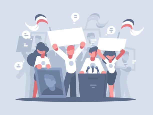ilustrações, clipart, desenhos animados e ícones de campanha eleitoral de candidato - político