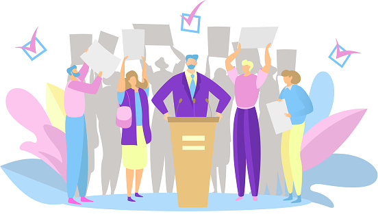Election campaign, party candidate speech, people support political leader, vector illustration