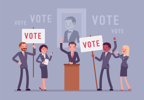 Election campaign voting Election campaign voting. Politician or party candidate in excited speech persuades to vote for him, active people at meeting holding signs, banners to support. Vector flat style cartoon illustration candidate stock illustrations