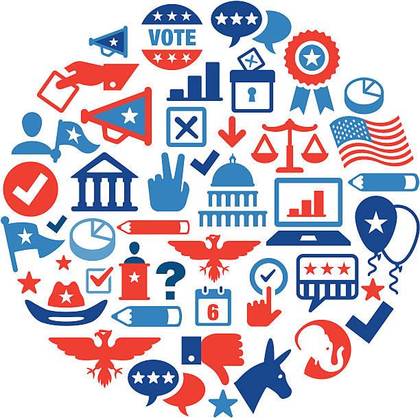выборы концепция цвет - presidential debate stock illustrations