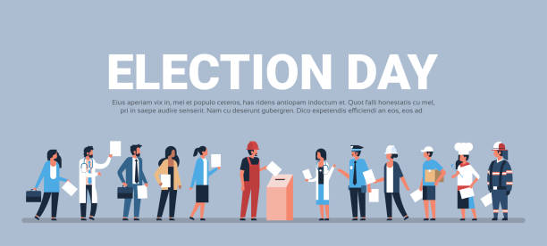 ilustrações de stock, clip art, desenhos animados e ícones de election day concept different occupations voters casting ballots at polling place during voting mix race people putting paper ballot in box full length flat horizontal copy space - democracy illustration