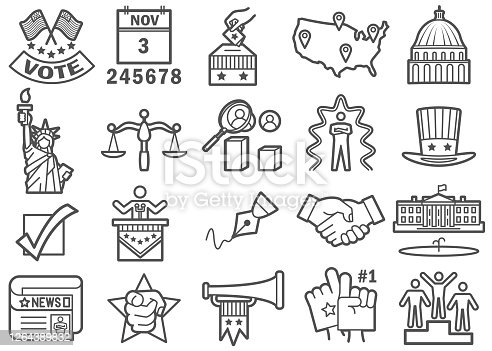 US Election Day Flat Line Icons Set