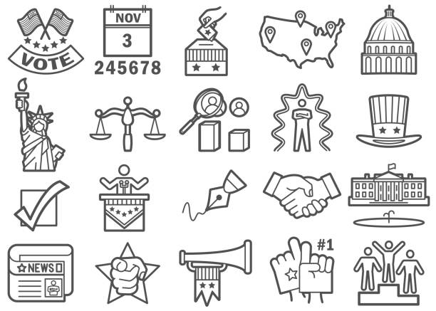 US Election Day Icons Set US Election Day Flat Line Icons Set inauguration stock illustrations
