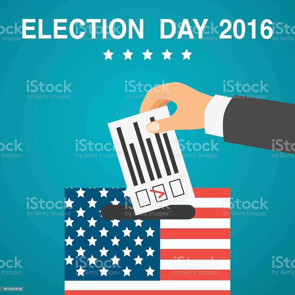 Election day poster. 2016 USA vector art illustration