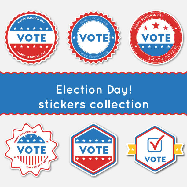 Election Day!. Stickers collection. Election Day!. Stickers collection. Buttons set for USA presidential elections 2016. Collection of blue and red patriotic badges. Round tokens vector illustration. voting stock illustrations