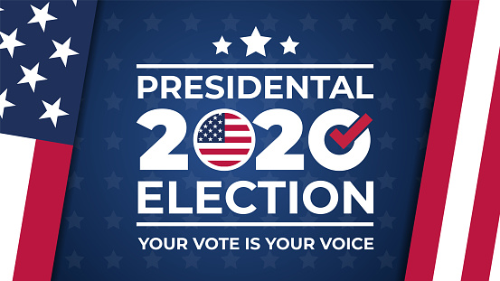 Election day. Vote 2020 in USA, banner design. Usa debate of president voting 2020. Election voting poster. Political election campaign